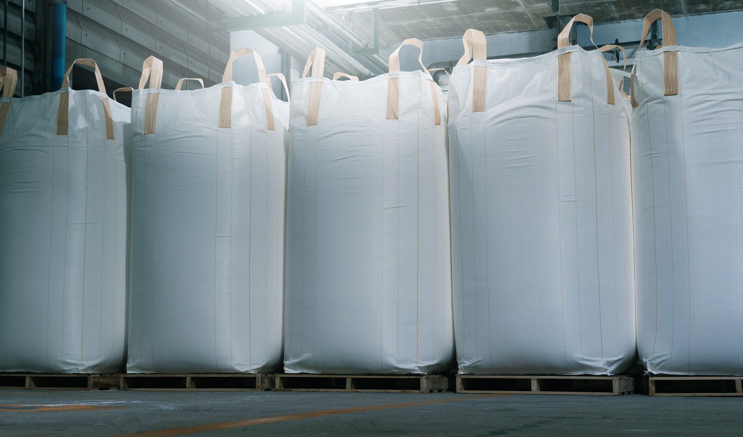 Big bag for plastic resin in warehouse factory delivery to customers