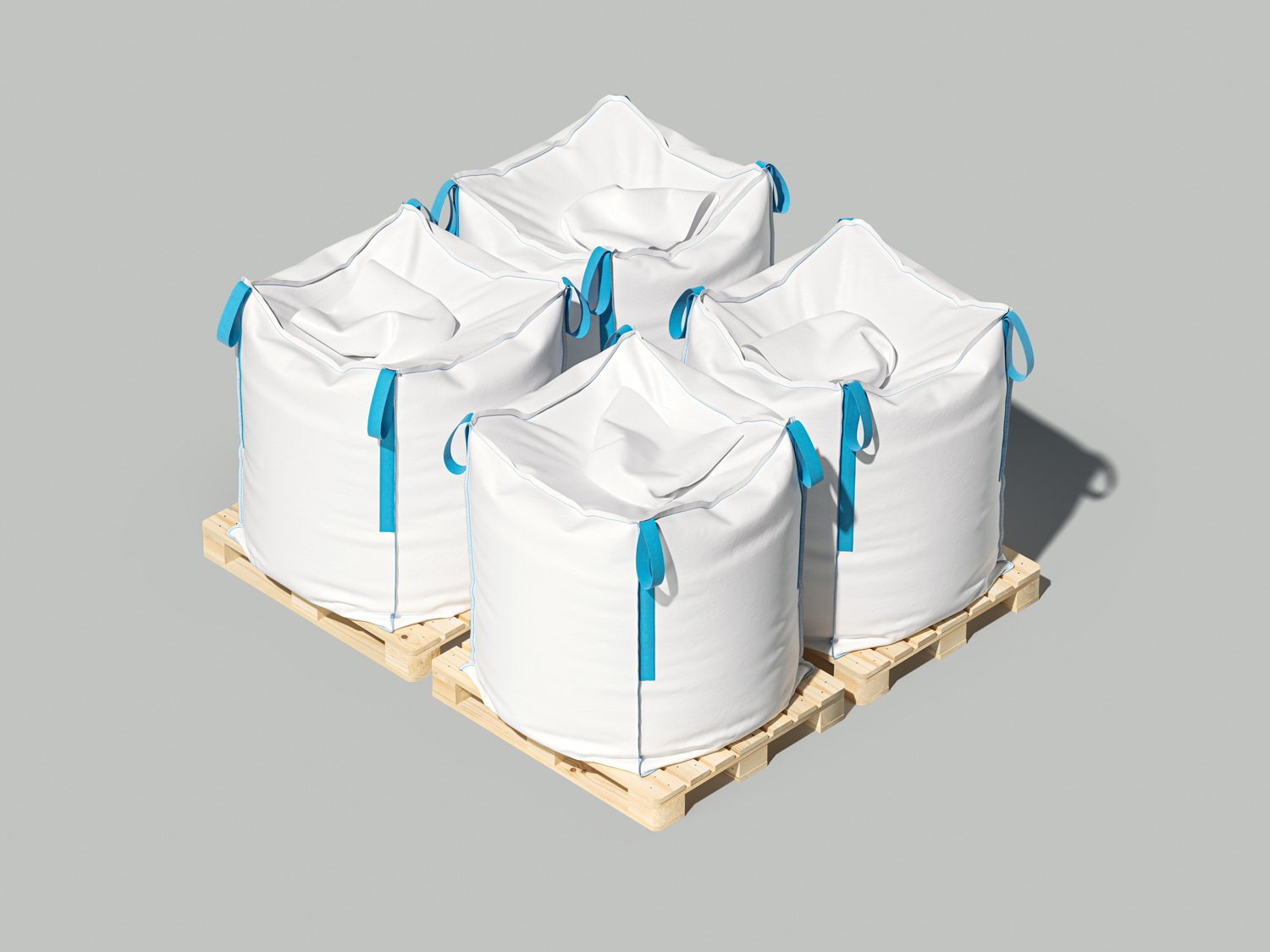 White big bags or sacks on pallet. Isolated objects on light background. Mockup for design. 3d render
